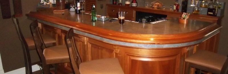 Cherry Bar with Curved Raised Panels & Curved Bar Rail