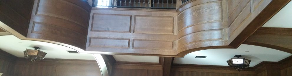 White Oak Library, Panels & Stained Glass Ceiling Millwork