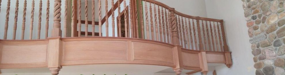 Mahogany Curved Raised Panel Balcony